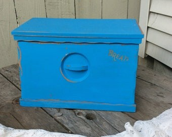 Shabby Chic Wood Bread Box/Charging Station Finished in Bermuda Blue