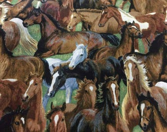 Horses Cotton Fabric by the Yard
