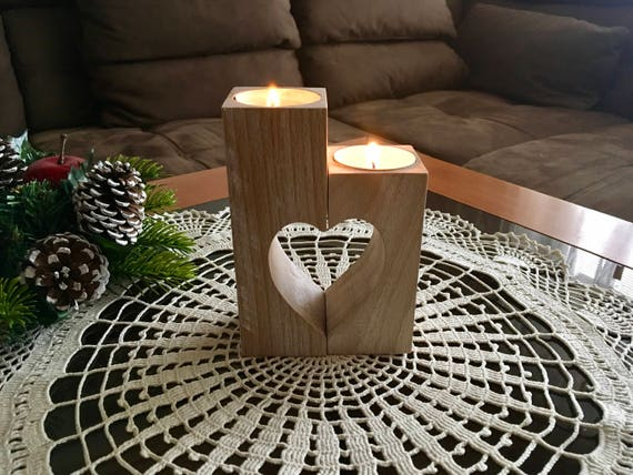 Christmas set Wooden candle holder & Round doily crochet Lace doily Crochet tablecloth Wood heart candle holders Gift for Mum Xmas gift idea