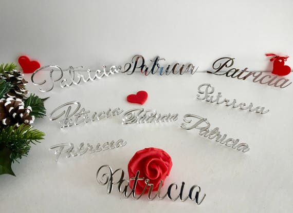 Wedding place cards Custom Wedding names Wedding signs Personalized Laser cut names Elegant Silver calligraphy Silver decor 15 wedding fonts