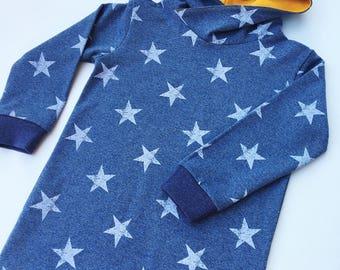 Girls hooded dress, Toddler girls jumper, Sweatshirt dress, Toddler dress, Star print, Blue girls dress, Toddler dress, Toddler hoodies