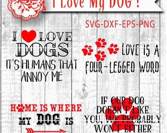 ON SALE Dog Quotes Svg Cut File Sport Cutting File, Four Dog Lover Sayings in Vector Design for Die Cut Machines HTV Stencil for Wood signs,