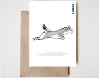 Cancer Shiba Card, Horoscope Dog Sumi-e Ink Painting Zen B&W Illustration February Birthday Cute Zodiac Drawing