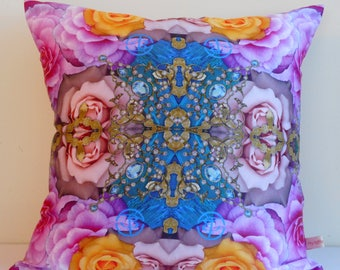 PINK roses,Decorative pillow cover,yellow rose,botanical print,gemstone images,floral,eco friendly,organic cotton,cushion cover,43cm x 43cm