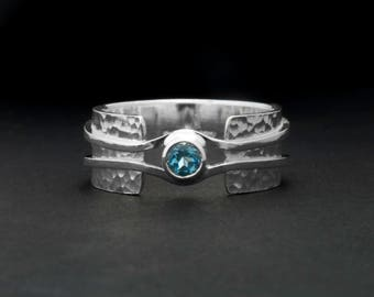 blue topaz ring - Wide band ring - Hammered band unique design - Available with other stones