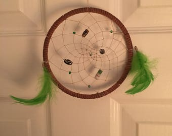 Dream-catcher (Small) - Green feathers