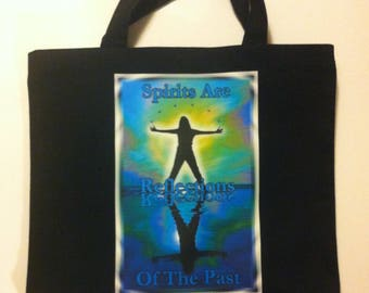 Tote: Spirits are Reflections of the Past - Black canvas reusable tote bag