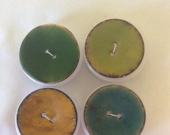 Painted Coconut 1 1/2 in Buttons  Tangerine, Green, Blue and Lime