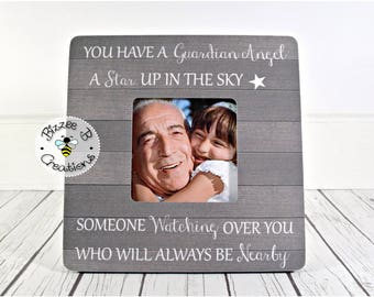 ON SALE In Memory of Picture Frame. Grandfather Memorial, Grandmother Memorial, You Have A Guardian Angel, Remembrance Frame for Grandchild