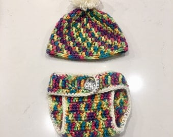 Rainbow Baby Hat and Diaper Cover Set