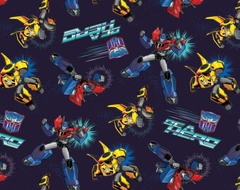 Hasbro Transformers Robots Be A Hero Fabric- Dark Blue - Sold by the 1/2 Yard
