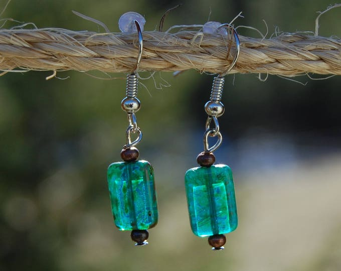 Blue Czech Beads & Copper Dangle Earrings