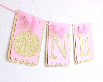 Our Little Pumpkin Is Turning One Banner - Pumpkin High Chair Banner - Little Pumpkin Banner - Pink And Gold Banner - 1st Birthday