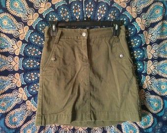 Military Green Hipster Boho Jean Skirt