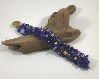Beaded Statement Bracelet, Blue, Purple, and Gold Mother of Pearl, Gold Plated Beads, Crystals, Lapis Lazuli, Glass Beads, Treasure Bracelet