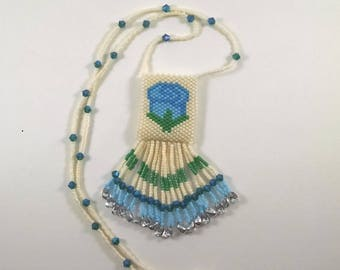 Beaded Rose Peyote Pouch Necklace, Small Amulet Bag, Native American Art Style Jewelry, Blue, Green, and Cream Rose Design, Fringed Necklace