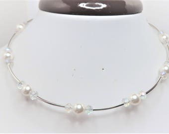 White Swarovski Pearl and Crystal Tube Choker Necklace Pearl Wedding Necklace White Wedding Jewelry Unique Bridal Necklace Crystal Necklace