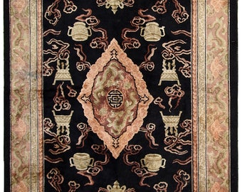 Handmade vintage silk Chinese rug 5.8' x 8.9' (178cm x 272cm) 1980s