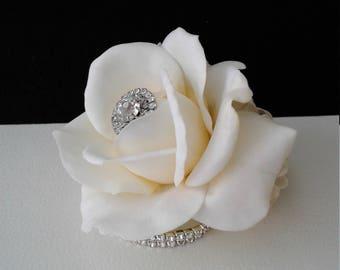 Ivory Rose Wrist Corsage-Rhinestone Corsage- Prom Corsage- Wedding Corsage-Silk Flower Corsage-Homecoming Corsage