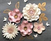 SUPER MINI 3 paper flower backdrop/Paper flower wall/Wedding Backdrop/Backdrop /Bridal or Baby shower/Sweet table/Christening /Dessert table