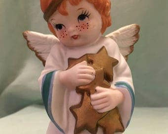 Angel figurine, collectible, gift, taper candleholder, home shelf decor, cute freckled face, hand painted