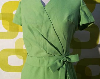 Tailored suit vintage 1960, Tiffany green cotton fabric, made in italy, handmade, vintage dress