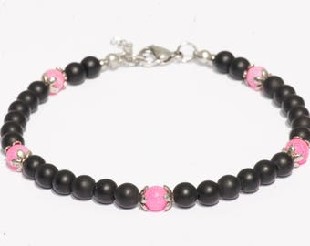 Anklet / ankle jewelry / gemstones black Agate stone is pink