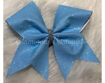 Glitter Neon Blue Cheer Bow