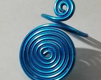 ring spiral blue aluminum
