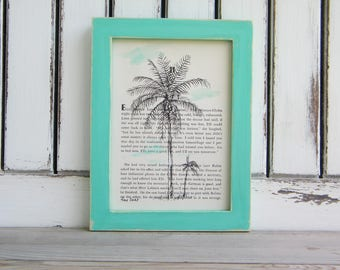 Palm Tree Print Art, Dictionary Art, Tropical Print, Book Art, Rustic Framed Picture, Hipster Wall Art, Bedroom Decor, Housewarming gift