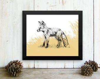 Framed print, Fox Framed Art, Fox Print, Woodland Animals, Fox Poster, Natural Decor, Cabin Decor, Art & collectibles, Paper Wall Hanging