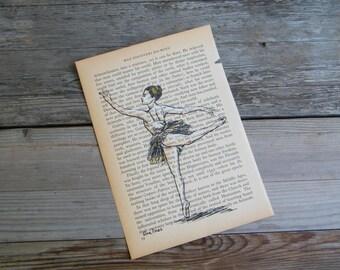 Dictionary art, Ballerina print, Rustic art, Ballet dancer poster, Little dancer, Ballet teacher gift, Gift for her