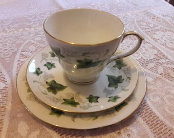 Duchess Ivy Bone China Vintage Tea Cup, Saucer & Sideplate