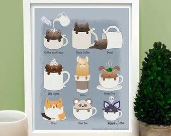 Coffee Cat and Friends Print, coffee art, kitchen art, coffee chart, cute print, coffee lover