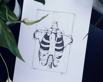 A4 print. Artwork. Gothic art. Black and white illustration. Drawing. Pen and ink.