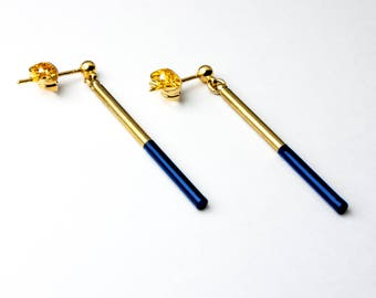 Midnight blue and gold earrings