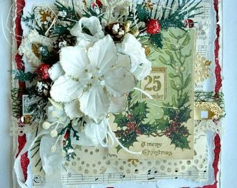 Beautiful Handmade Shabby Chic Christmas Greeting Card #WC2017-8917