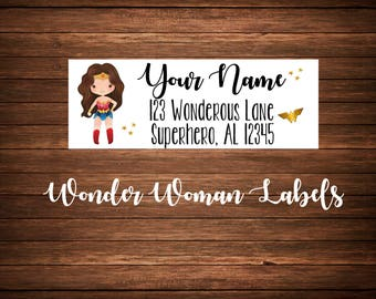 Wonder Woman Address Labels, Mailing Labels