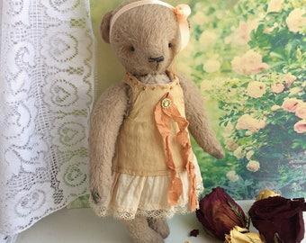 Teddy bear in vintage style. Teddy Bear in dress. Teddy girl in wool felted dress. Мишка тедди ручной работы в винтажном стиле.Тедди девочка