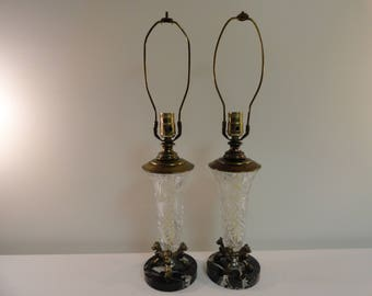Pair Of Beautiful Glass and Brass Lamps With Fine Marble Bases From Italy