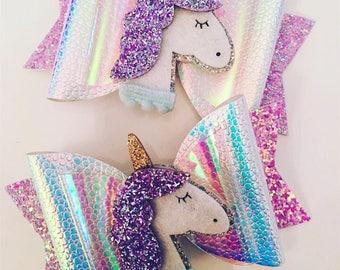 Unicorn Hair Bow, Unicorn Hair Accessories, Unicorn Hair Clip, Unicorn Headband, Girls Hair Clips, Unicorn Party, Glitter Hair Bow