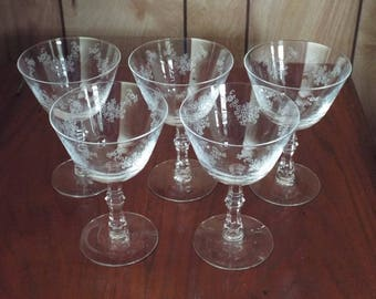 Vintage Fostoria Champagne Glasses, Sherbet Cups