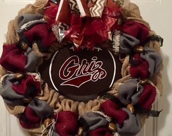 Montana Grizzlies wreath, Montana Griz wreath