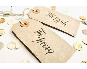 Hand drawn Kraft name tags, typography, luggage tags, rustic, wedding, party
