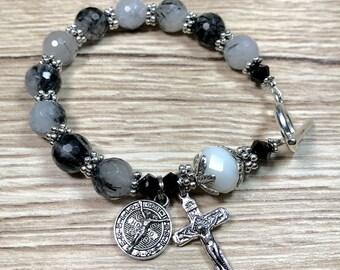 Rosary Bracelet With St Benedict Charm
