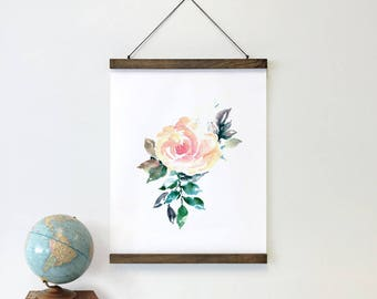 Floral Print - Rose Painting, watercolor flowers, pink rose, fine art print, large art print, botanical art, floral wall art, framed art