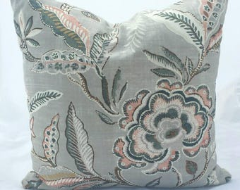Soft Grey and Pink Floral Cushion Cover
