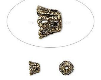 Antiqued Brass Bead Cap, filgree bead cap,  12mm bead cap, 10 each, D232