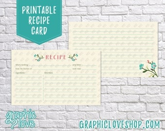 Printable Flower 3x5 Double Sided Recipe Card   Pink, Teal, Floral, Wedding Shower   Digital JPG Files, Instant Dowload, File NOT Editable