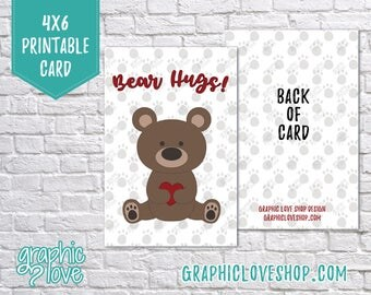 Printable Bear Hugs 4x6 Valentine's Day or Get Well Card/Postcard | High Resolution Digital JPG Files, Instant Download, File NOT Editable